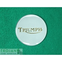 BADGE, PETROL TANK, SILVER GOLD, TRIUMPH, 750, GENUINE, 83-4776