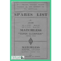 PARTS BOOK, MATCHLESS, 500, 600, TWINS, 1956, BKP0061