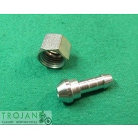 "PETROL TAP NUT AND SPIGOT, 1/4"" BSP, TRIUMPH, NORTON, BSA, GENUINE, PTK0080/81"